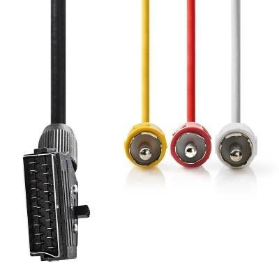 Cable Scart Conmutable | Scart Macho - 3X Rca Macho | 1,0 M | Negro