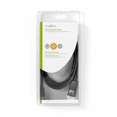 Cable Mini DisplayPort | Mini DisplayPort Macho - DisplayPort Macho | 2,0 m | Negro