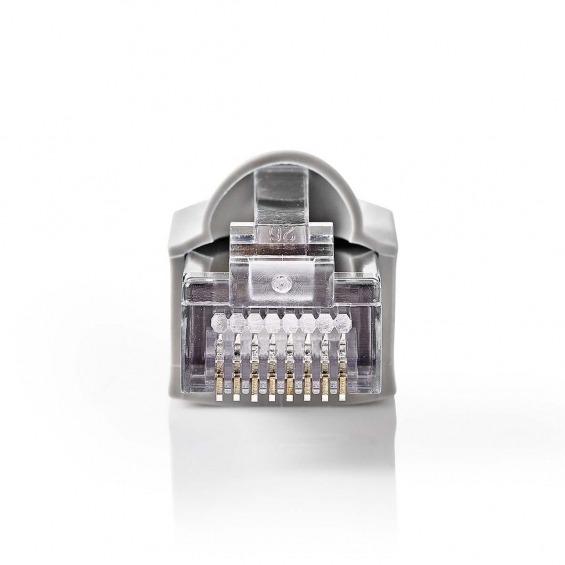 Set de Conectores de Red | RJ45 (8P8C) Macho - Funda Protectora Independiente para Conector | 10 unidades | Gris