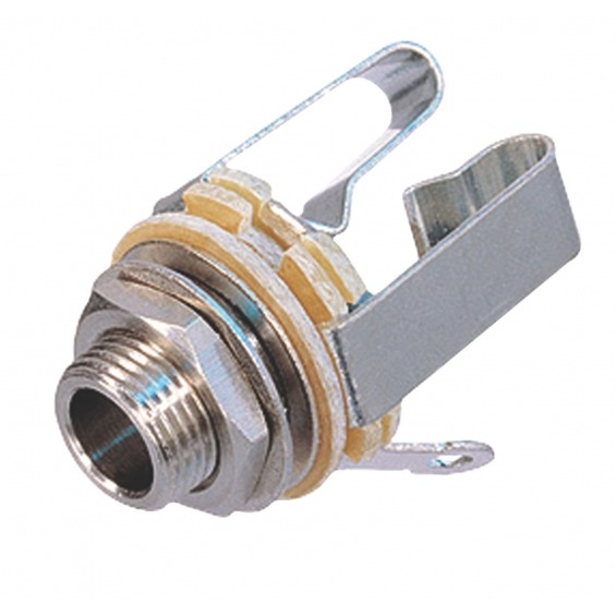 Conector Mono 6.35 mm Hembra Metal Plata