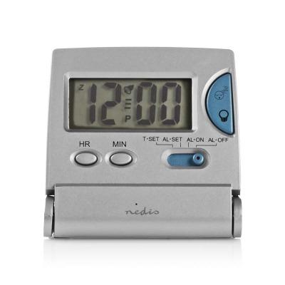 Reloj Despertador De Viaje Digital | Plano | Plegable | Plata