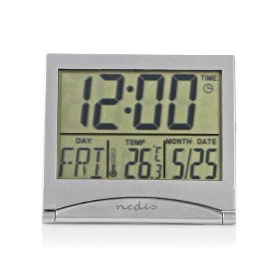 Reloj Despertador De Viaje Digital | Fecha/temperatura | Plata