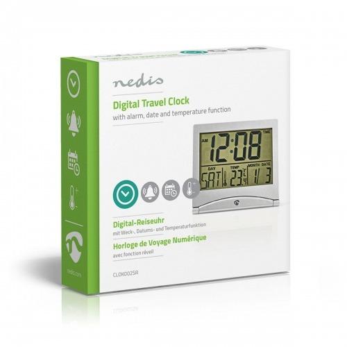 Reloj Despertador de Viaje Digital   Fecha/Temperatura   Plata