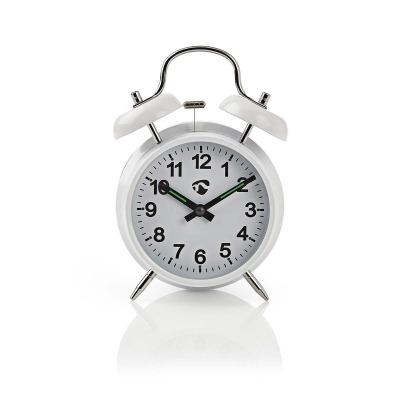 Reloj Despertador De Sobremesa Analógico | Metal | Blanco