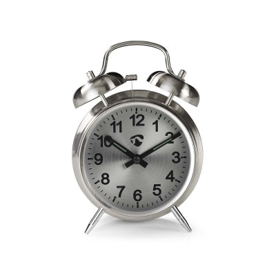 Reloj Despertador De Sobremesa Analógico | Metal | Plata