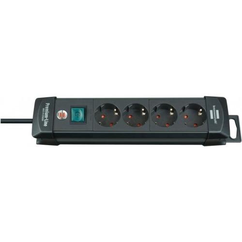 Regleta Premium-Line de 4 tomas H05VV-F 3G1,5 en color negro