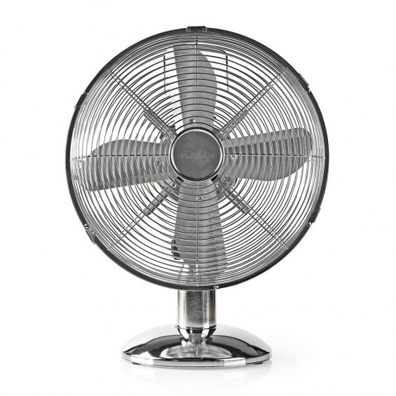 Ventilador de Mesa Metálico | 30 cm de diámetro | 3 Velocidades | Función de Oscilación | Cromado