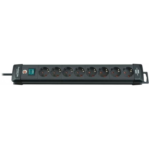 Regleta Premium-Line de 8 tomas H05VV-F 3G1,5 en color negro