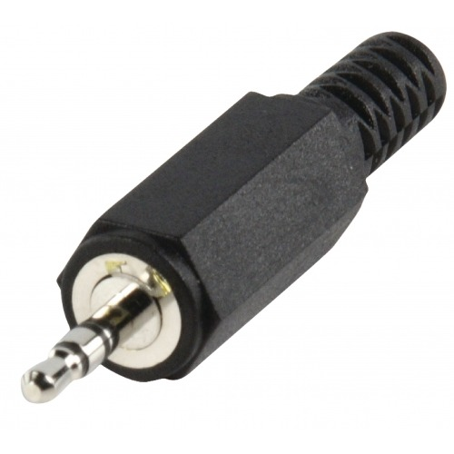 Conector Estéreo 2.5 mm Macho PVC Negro