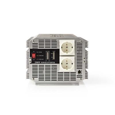 Inversor De Potencia De Onda Sinusoidal Modificada | 12 V De Cc - 230 V De Ca | 2500 W | 2X Salidas Schuko | Control Remoto