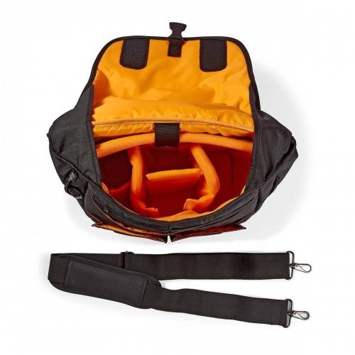Bandolera para Cámara   330 x 250 x 140 mm   3 bolsillos interiores   Negro/naranja
