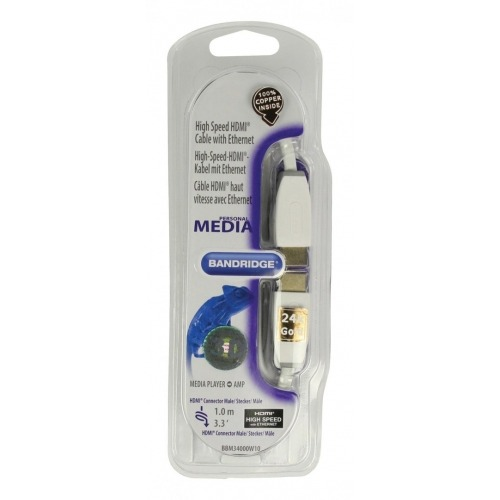 Cable HDMI de alta velocidad con Ethernet de 1.00 m en color blanco