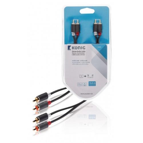 Cable de audio estéreo 2x RCA macho - 2x macho, 10,0 m en gris