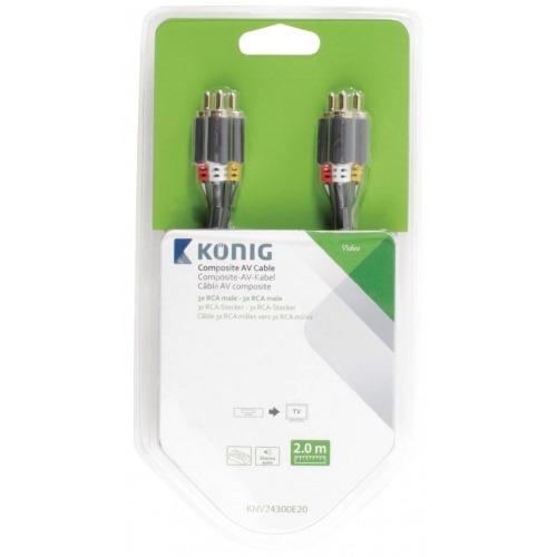 Cable AV compuesto de 3 x RCA macho a 3 x RCA macho de 2,00m en gris
