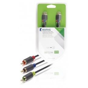 Cable de vídeo compuesto de 3 x RCA macho a 3 x RCA macho de 2,00m en gris