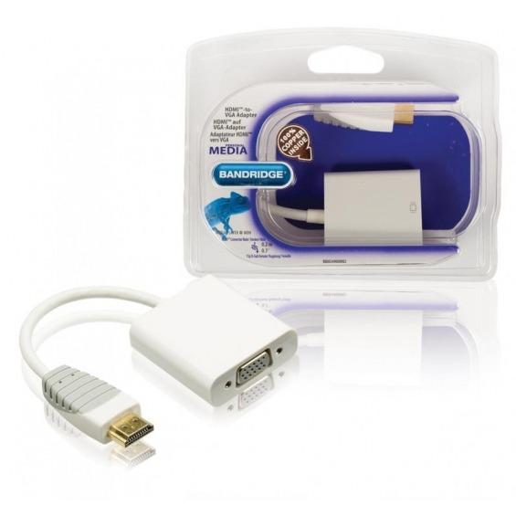 Adaptador HDMI a VGA, conector HDMI - VGA hembra, 0,2 m blanco