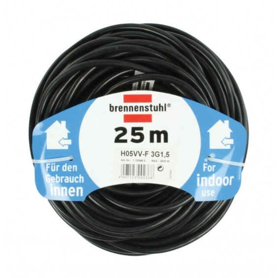 Cable de Extensión Schuko Macho - Schuko Hembra 25.0 m Negro