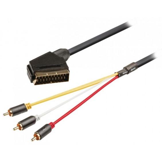 Cable SCART - RCA conmutable de SCART macho a 3x RCA macho de 2,00m en gris