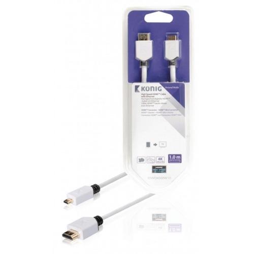 Cable de Alta Velocidad HDMI™ con Conector Ethernet HDMI™ a Conector Micro HDMI™ de 1,00m e