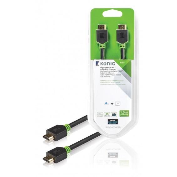 Cable de Alta Velocidad HDMI™ con Conector Ethernet HDMI™ a Conector HDMI™ de 1,00 m en gris