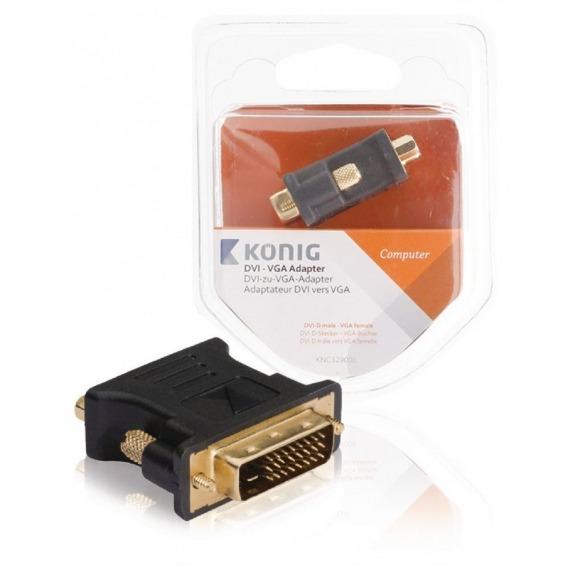 Adaptador DVI - VGA de DVI-I macho a VGA hembra; 1 ud. en gris