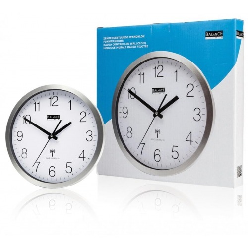 Aluminium wall clock radio-controlled