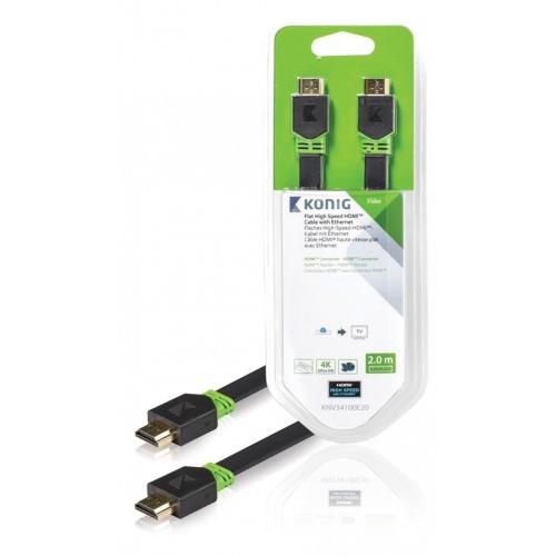 Cable plano de Alta Velocidad HDMI™ con Conector Ethernet HDMI™ a Conector HDMI™ de 2,00m e