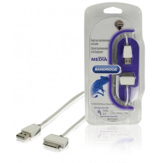 Cable de carga y sincronización para iPod/iPhone/iPad de 1.00 m en color blanco