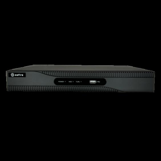 Grabador NVR para cámaras IP - 8 CH vídeo / Compresión H.265+ - 8 Canales PoE - Resolución máxima 8Mpx - Ancho de banda 80 Mbps - Salida HDMI 4K y VGA - Admite 1 disco duro