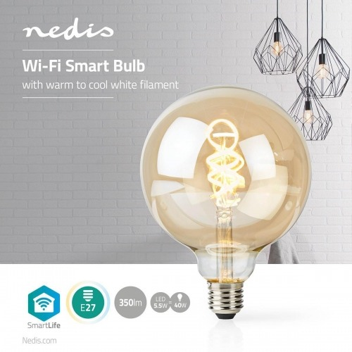 Bombilla LED Wi-Fi de Filamento de Blanco Cálido a Frío | Trenzada | E27 | G125 | 5,5 W | 350 lm