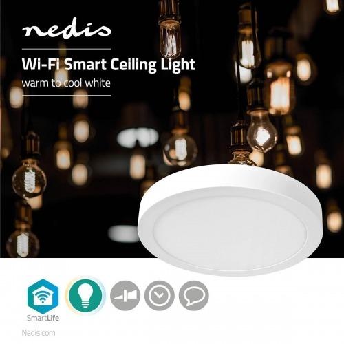 Luz de Techo Wi-Fi Inteligente   Redonda   Diámetro de 30 cm   Blanco Cálido a Frío   1200 lm   18 W   Diseño Compacto   Aluminio