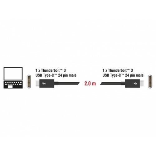Cable Thunderbolt™ 3 (20 Gb/s) USB-C™ macho > macho pasivo de 2,0 m y 3 A negro