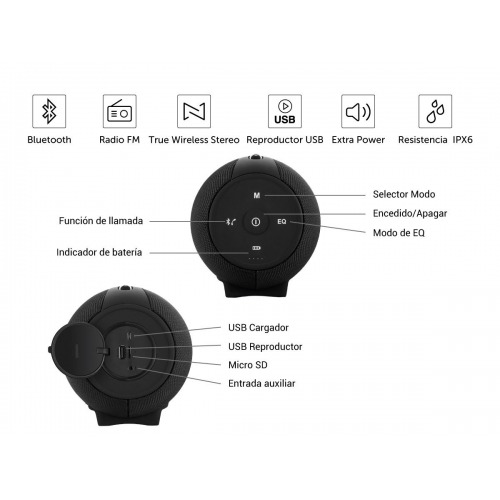 Altavoz Vieta Pro VM-BS79BK Bluetooth FM USB Player