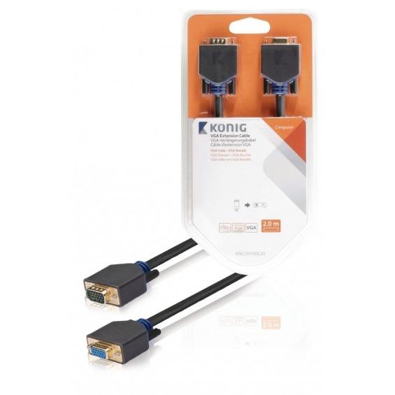 Cable alargador VGA de VGA macho a hembra de 2,00m en gris