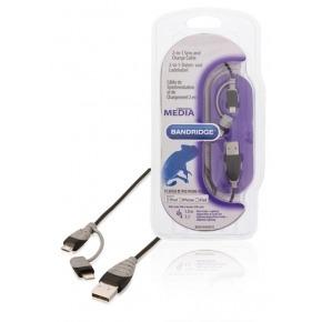 Cable USB 2 en 1 de carga y sincronización USB 2.0 A macho - micro B macho con adaptador Lightning