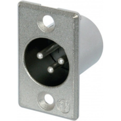XLR Panel-mount male receptacle 3 P Conexión de Soldadura Niquelado