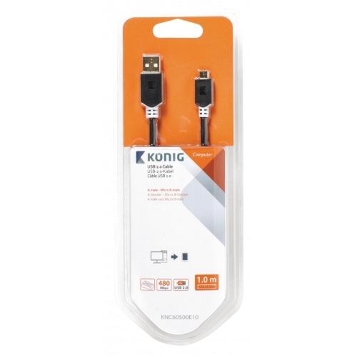 Cable USB 2.0 de A macho a Micro B macho de 1,00 m en gris