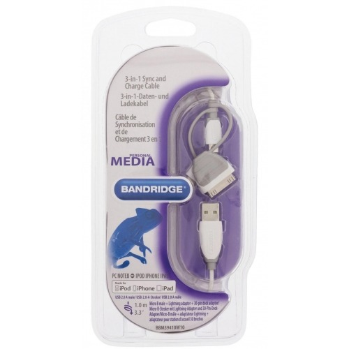 Cable 3 en 1 de carga y sincronización USB 2.0 A macho - micro B macho con adaptador Lightning int