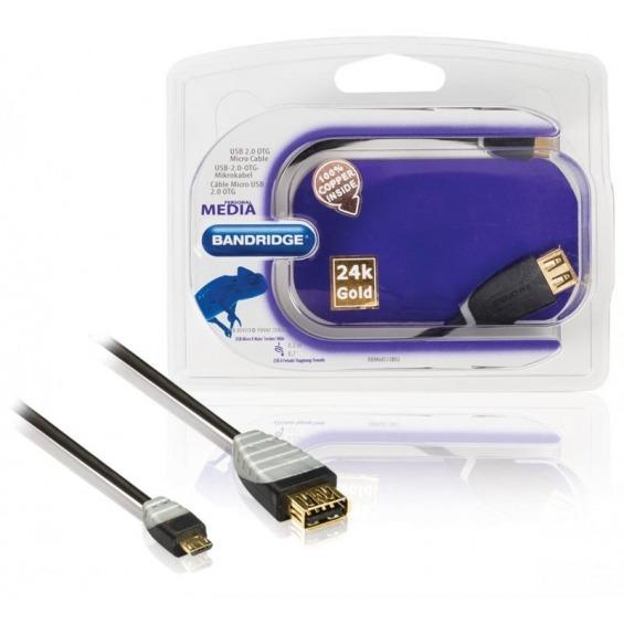 Cable USB 2.0 OTG Micro, USB A hembra - USB Micro B macho, 0,2 m negro