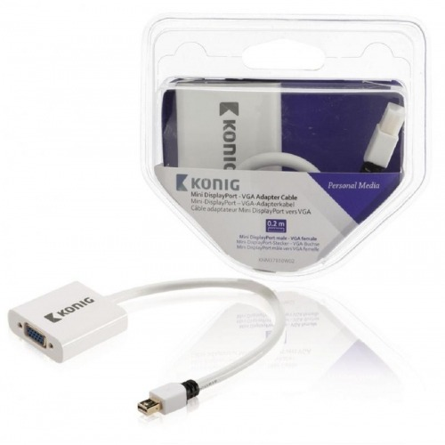 Cable adaptador Mini DisplayPort - VGA de mini DisplayPort macho a VGA hembra de 0,20 m en blanco