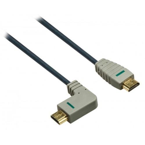 Cable HDMI de alta velocidad con Ethernet con conector HDMI - conector HDMI (angulo) 2.0 en azul