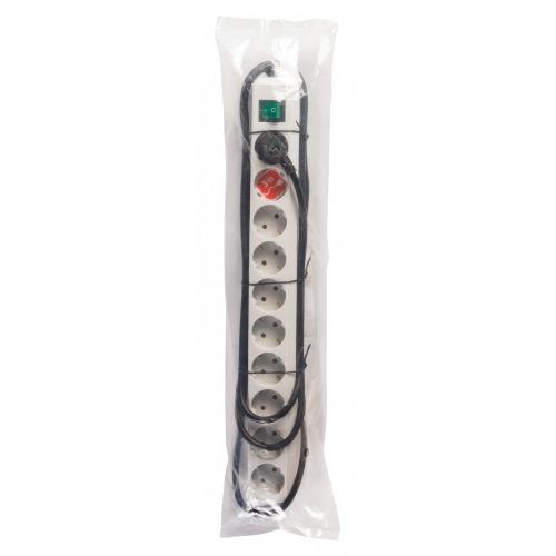 Regleta de distribución de 10 tomas color plata con interruptor