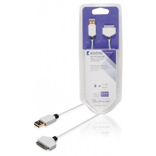 Cable de carga y sincronización de conector base de 30 pines macho a USB 2.0 A macho de 2,00 m en
