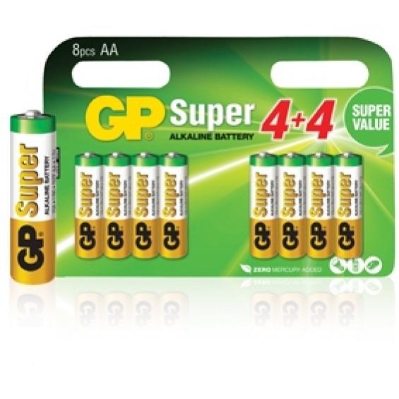Pilas alcalinas AA/LR6 1.5 V Super en blíster de 8 pcs