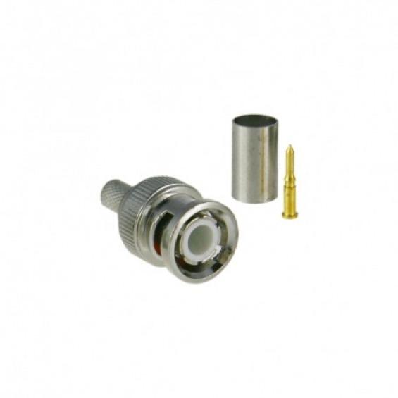 Conector SAFIRE - BNC para crimpar - Compatible con Microcoaxial - 25 mm